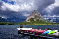 Canoes at Swiftcurrent Lake